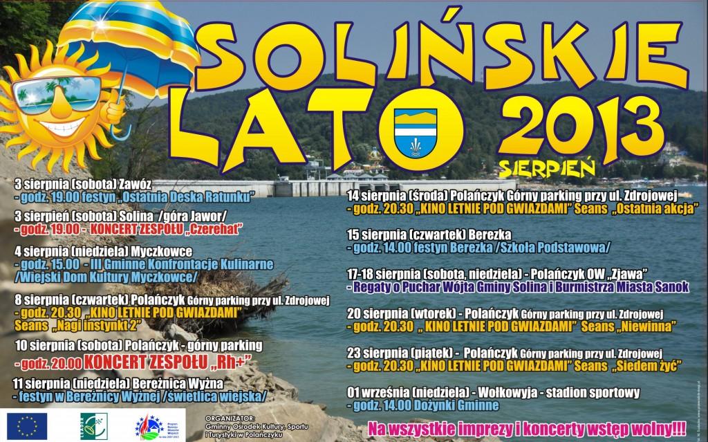 Plakat Solińskie Lato 2013 sierpień B2