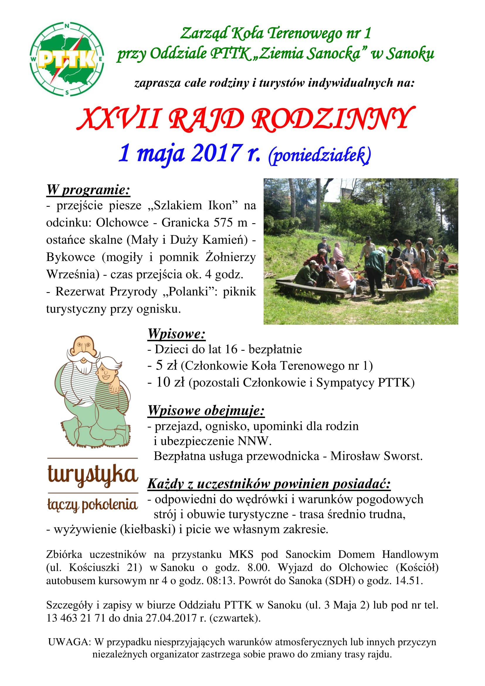 XXVII Rajd Rodzinny 01 05 2017 r  - afisz-1